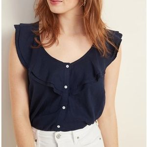 Old Navy Ruffle-Tiered Linen-Blend Button Blouse